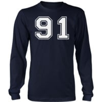 Men's Vintage Sports Jersey Number 91 Long Sleeve T-Shirt for Fan or Player #91