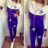 Adidas Fashion Long sleeve Sport Gym Set Two-Piece Sweatshirt Hoodie