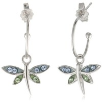 Sterling Silver Blue and Green Crystal Dragonfly Charm Hoop Earrings