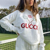 GUCCI new style ancient cool G Jiachiqi tennis racket letter printed cotton sweater men and women trendy loose jacket