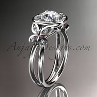 14kt white gold diamond unique butterfly engagement ring, wedding ring ADLR330