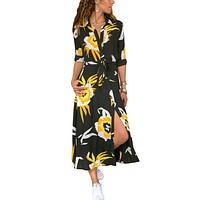 Black Yellow Floral Print Button Down Belted Shirt Dresses