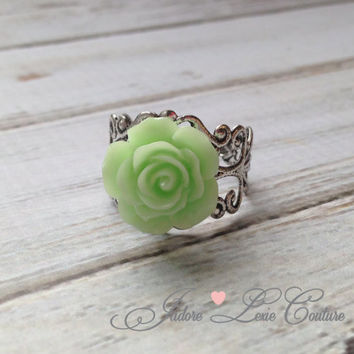 Fall Trendy Color, Minty Green Rose, Flower, Filigree, Beautiful, Adjustable, Ring, Womens Accessories, Vintage, Antique Style
