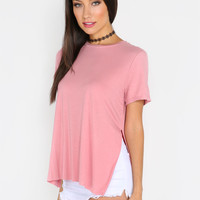 Pink Split Side Short Sleeve High Low T-shirt | MakeMeChic.COM