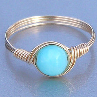 Blue Peruvian Opal Ring, 14k Gold Filled Ring, Wire Wrapped Gemstone Ring, Stone Ring