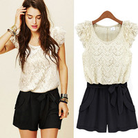 Rompers lace openwork stitching hit the color lady Siamese culottes-LJ-Z485 from GoBuy7