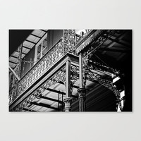 French Quarter Wrought Iron Balcony retro architecture urban black and white fine art photograph travel wall decor New Orleans gift under 50