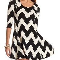 CHEVRON SWEATER KNIT SKATER DRESS
