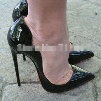 Free shipping female sexy 12cm red bottom heels, red and black petal heels wave heels, brand quality party heels, EUR 36-43