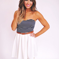 Navy/White Belted Dress