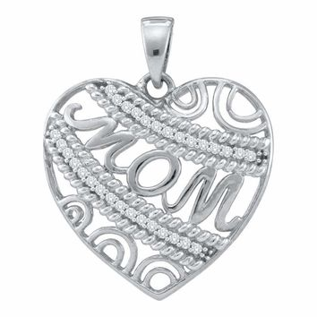10kt White Gold Women's Round Diamond Mom Mother Filigree Heart Pendant 1-10 Cttw - FREE Shipping (US/CAN)