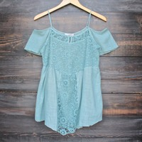 final sale - cold shoulder vintage inspired lace tunic - sage