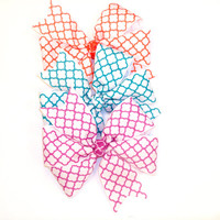Sale 5 for 5.00 Quatrefoil hair bow toddler bow girls hair bow also honeycomb design hair bow 4.5 inch pinwheel hair bow