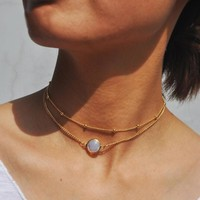 Natural Opal Stone Multilayer Choker Necklace