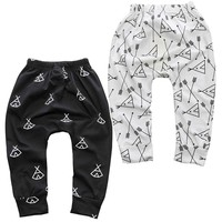 New Arrival Geometric Pattern Baby Pants Cotton Babys Boys Girls Harem PP Pants For Infant Newborn Trousers Boy Girl Clothing