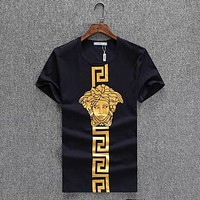 Versace 2018 summer men and women style tide brand round neck loose short-sleeved T-shirt F/A