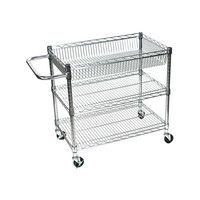 Luxor Adjustable Mobile Multipurpose Home Office Rolling 3 Shelf Wire Tub Heavy Duty Transport Storage Utility Cart