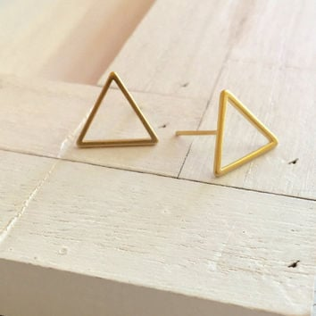 Holly Hollow Triangle Stud Earrings