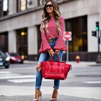 Hot Selling High Fashion Vintage Fashion White And Red Striped Shirt Blouse