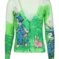 MapleClan Women's Printed Knit V Neck Button-Front Cardigan - 7000