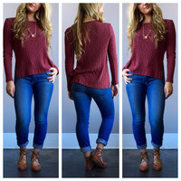 A Knit Tee in Soft Burgundy