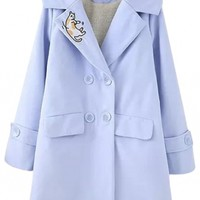 Notched Lapel Cat Embroidery Double Breasted Long Tweed Coat
