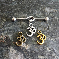 Om Aum ॐ - Gold Silver Bronze - 14G (1.6mm) Industrial Barbell Scaffold Piercing Jewelry (32mm, 35mm, or 38mm!)