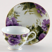Pansy Joy Teacups Set of 6 includes 6 Tea Cups & 6 Saucers