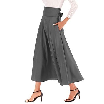 Women's Casual High-Waisted Pleated Maxi Skirt with Pockets£¬Solid Long Vintage Strappy Skirt 3 Colors