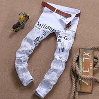 New luxury brand fashion stretch mens jeans white letters printing jeans men casual slim fit trousers denim printed jeans pants
