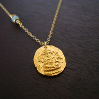 Gold Ganesha Coin Necklace - Or Choose a Birthstone - Throat Chakra Necklace, Blue Opal Necklace, October Birthstone Necklace