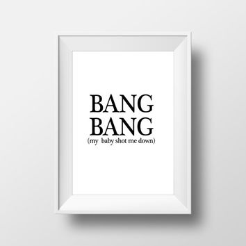 "Romance Quote Funny poster Funny quotes ""BANG BANG"" Typography art Typographic print Wall artwork Digital art print Gift idea Word art"