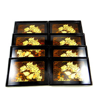 Vintage Otagiri Lacquered Appetizer Trays with Quail Design. Set of Eight