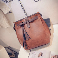 Brand Women Bag Tassel Handbags Solid Shoudler Bags Ladies Pu Leather Woman Messenger Bag Brown red gray green