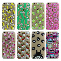Luxury Soft TPU 3D Cute Cartoon Eyes Move Mouse Cat French fries banana Popcorn Phone Case For iphone 6 6s 6 Plus Cover Back