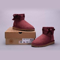 Ugg 1005854a Side Ribbon Bow 5066 Red Classic II Mini Boot Sheepskin Boots Snow Boots