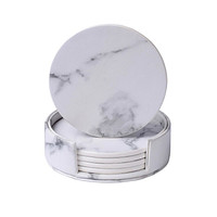 6 PCS Elegant Marble Set Of Cup Coasters