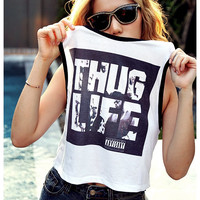 THUG LIFE TuPac Shirt Tank Top Women Summer Fashion Sexy Sideboob Show Bikini Size S, M, L