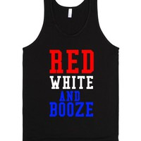 Red, White and Booze-Unisex Black Tank