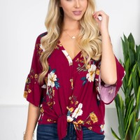 Rich Wine Floral Knot Top