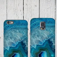 Agate stone iPhone 6 Case, blue agate crystal iPhone 5 cover, Gemstone iPhone Case, Mineral iPhone 5C Case, Samsung Galaxy case geode druse