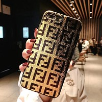 FENDI New Popular Chic iPhone Phone Cover Case For iphone 6 6s 6plus 6s-plus 7 7plus 8 8plus iPhone X XR XS XS MAX Golden