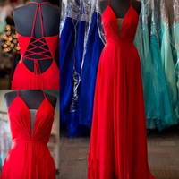 Simple Sleeveless A-Line Red Prom Dresses Evening Dresses