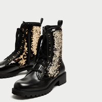 SEQUINNED LACE-UP ANKLE BOOTS DETAILS