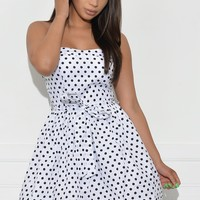 Leah Polka Dot Dress - White