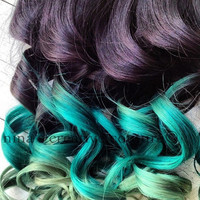 """18"""", Ombre Hair, Dip Dye, Remy human hair, extensions, Black Hair with fade levels of green, (7) Pieces, 110 Grams"""