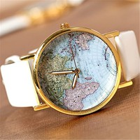 U-beauty GreatCase Unisex Elegant Retro Old Classic Luxury World Map Bracelet Quartz Wrist Watch with Leather Band (White)