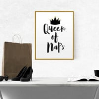 Printable Queen of naps Minimalist Black and White Typography Print Modern Home Decor Bedroom Decor Quote Poster Silly Print. Funny Poster