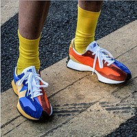 New Balance 327 series two-color stitching men and women sports casual running shoes blue yellow