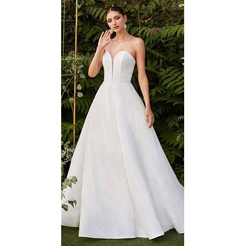 Strapless Off White Wedding Ball Gown Glitter Swirl Detail Corset Lace Up Back